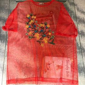 ZARA Thin Red Mesh T-shirt